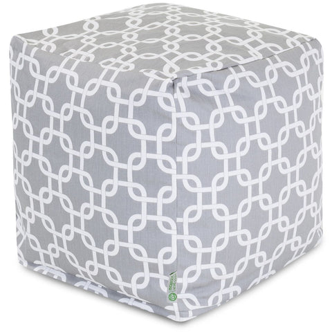 Gray Links Small Cube Pouf