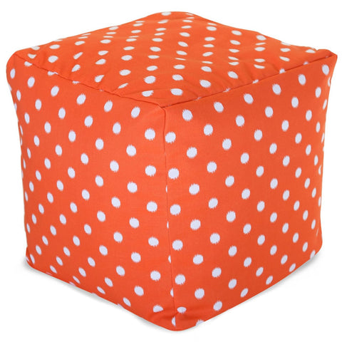 Orange Ikat Dot Small Cube Pouf