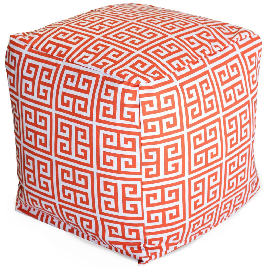 Orange Towers Small Cube Pouf