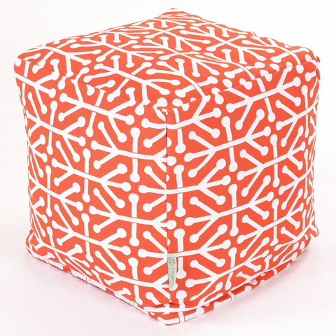 Orange Aruba Small Cube Pouf