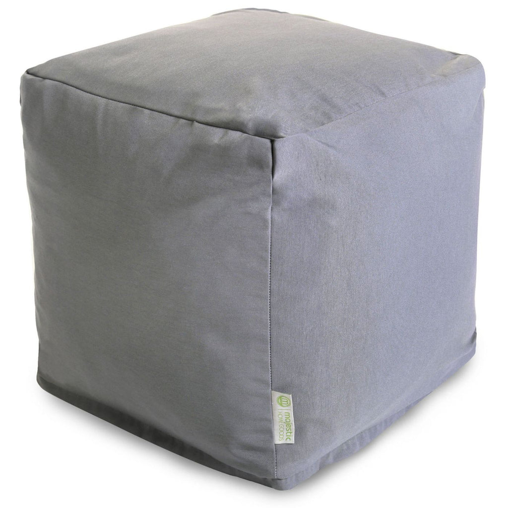 Gray Solid Small Cube Pouf