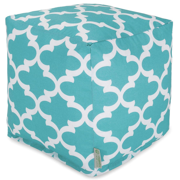 Teal Trellis Small Cube Pouf