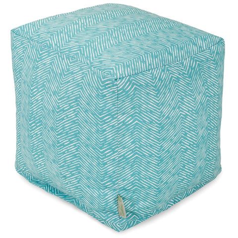 Teal Navajo Small Cube Pouf