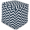 Navy Chevron Small Cube Pouf