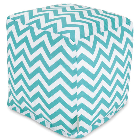 Teal Chevron Small Cube Pouf