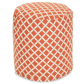 Burnt Orange Bamboo Small Pouf