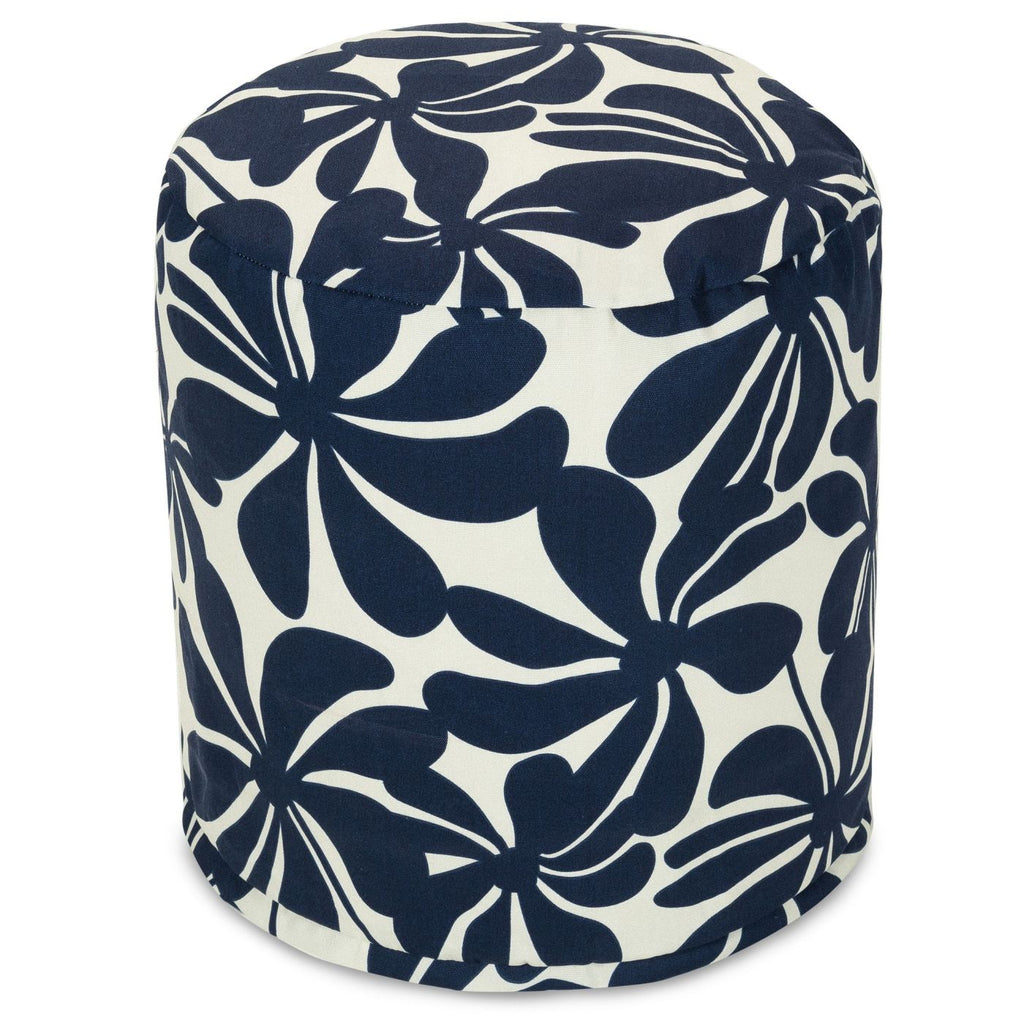 Navy Blue Plantation Small Pouf