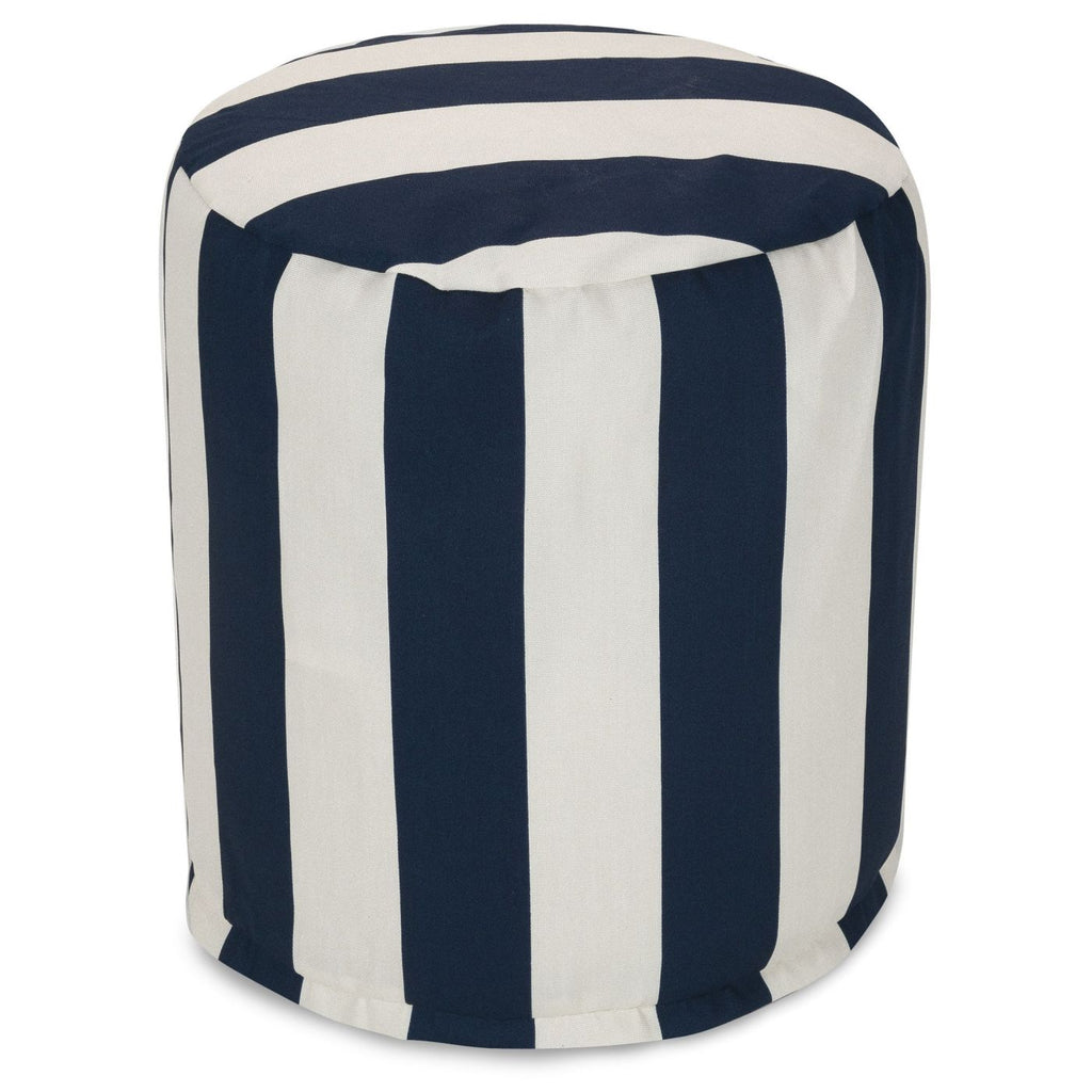 Navy Blue Vertical Stripe Small Pouf