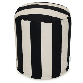 Black Vertical Stripe Small Pouf