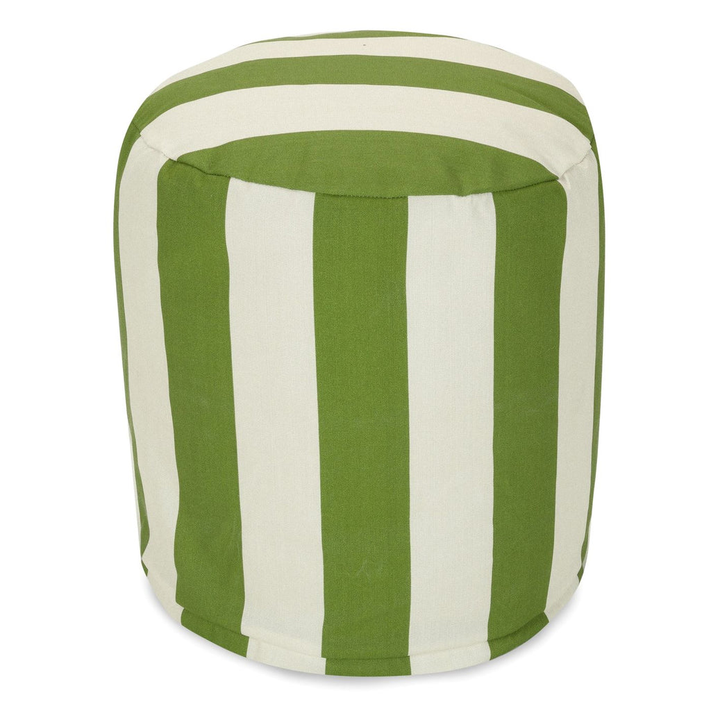 Sage Vertical Stripe Small Pouf