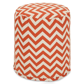 Burnt Orange Chevron Small Pouf