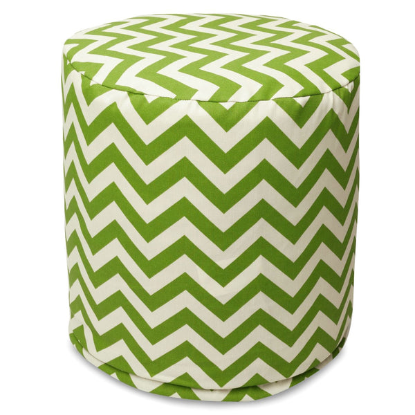 Sage Chevron Small Pouf