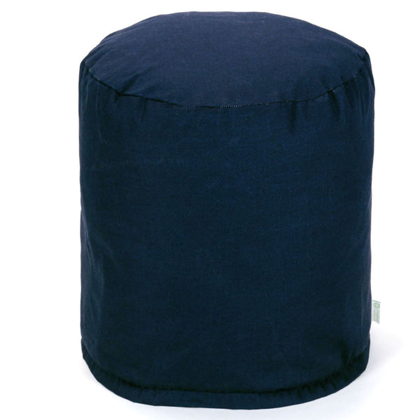 Navy Blue Solid Small Pouf