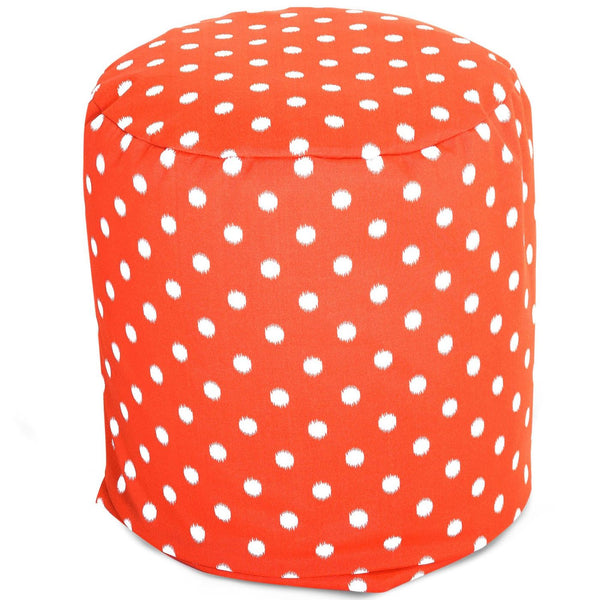 Orange Ikat Dot Small Pouf