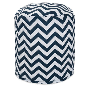 Navy Chevron Small Pouf