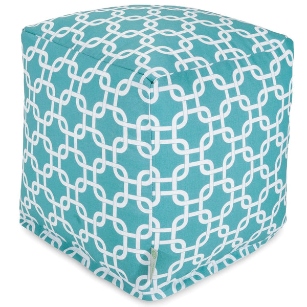Teal Links Small Cube Pouf