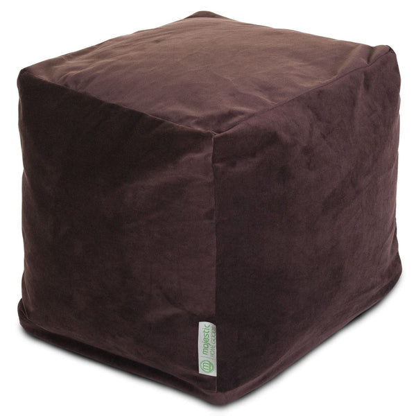 Dark Brown Micro-Velvet Small Cube Pouf