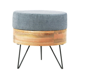 Pouf Round Gray Linen Cotton Mix