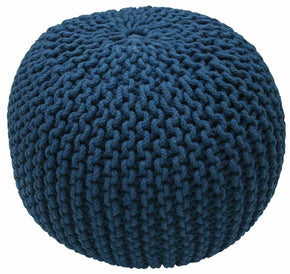 Nuloom Cable Knit Navy Pouf