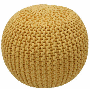 Nuloom Cable Knit Ming Yellow Pouf