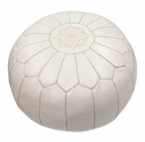 Nuloom Moroccan White Pouf