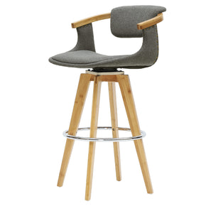 New Pacific Direct 1160002-287N Darwin Fabric Bamboo Bar Stool Stokes Gray