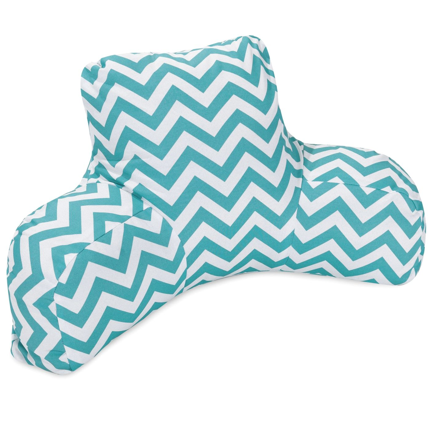 Majestic home teal chevron reading pillow 85907223099 for Teal reading chair