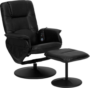 Recliners - Flash Furniture BT-753P-MASSAGE-BK-GG Massaging Black Leather Recliner and Ottoman with Leather Wrapped Base | 847254015820 | Only $219.80. Buy today at http://www.contemporaryfurniturewarehouse.com