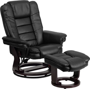 Recliners - Flash Furniture BT-7818-BK-GG Contemporary Leather Recliner and Ottoman with Swiveling Mahogany Wood Base | 847254015684 | Only $294.80. Buy today at http://www.contemporaryfurniturewarehouse.com