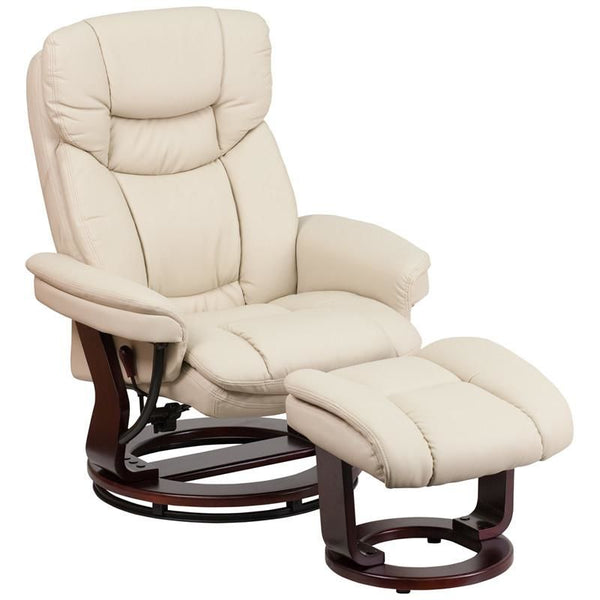 Recliners - Flash Furniture BT-7821-BGE-GG Contemporary Palimino Leather Recliner and Ottoman with Swiveling Mahogany Wood Base | 889142014775 | Only $309.80. Buy today at http://www.contemporaryfurniturewarehouse.com