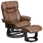 Contemporary Palimino Leather Recliner And Ottoman With Swiveling Mahogany Wood Base Brown