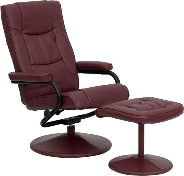 Contemporary Cream Leather Recliner And Ottoman With Wrapped Base Burgundy