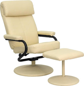 Contemporary Cream Leather Recliner And Ottoman With Wrapped Base