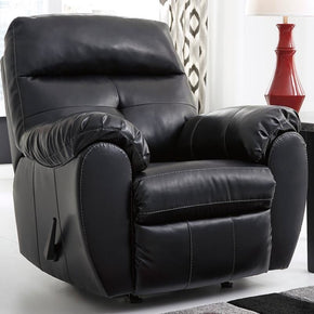 Benchcraft Bastrop Rocker Recliner In Midnight Durablend Black