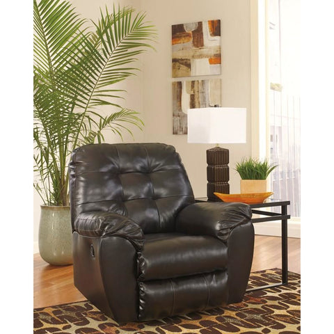 Signature Design By Ashley Alliston Rocker Recliner In Chocolate Durablend