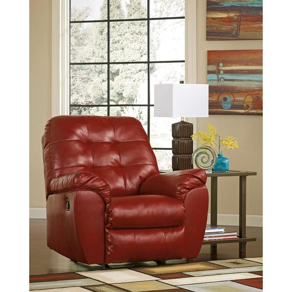 Signature Design By Ashley Alliston Rocker Recliner In Chocolate Durablend Red
