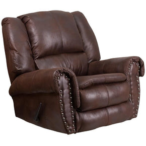 Contemporary Breathable Comfort Padre Espresso Fabric Rocker Recliner With Brass Accent Nails Brown