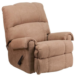 Contemporary Victory Lane Taupe Fabric Rocker Recliner Chocolate,