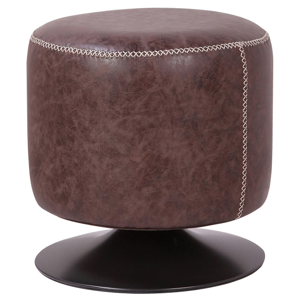 New Pacific Direct 9300034-238 Gaia PU Leather Round Ottoman Vintage Coffee Brown