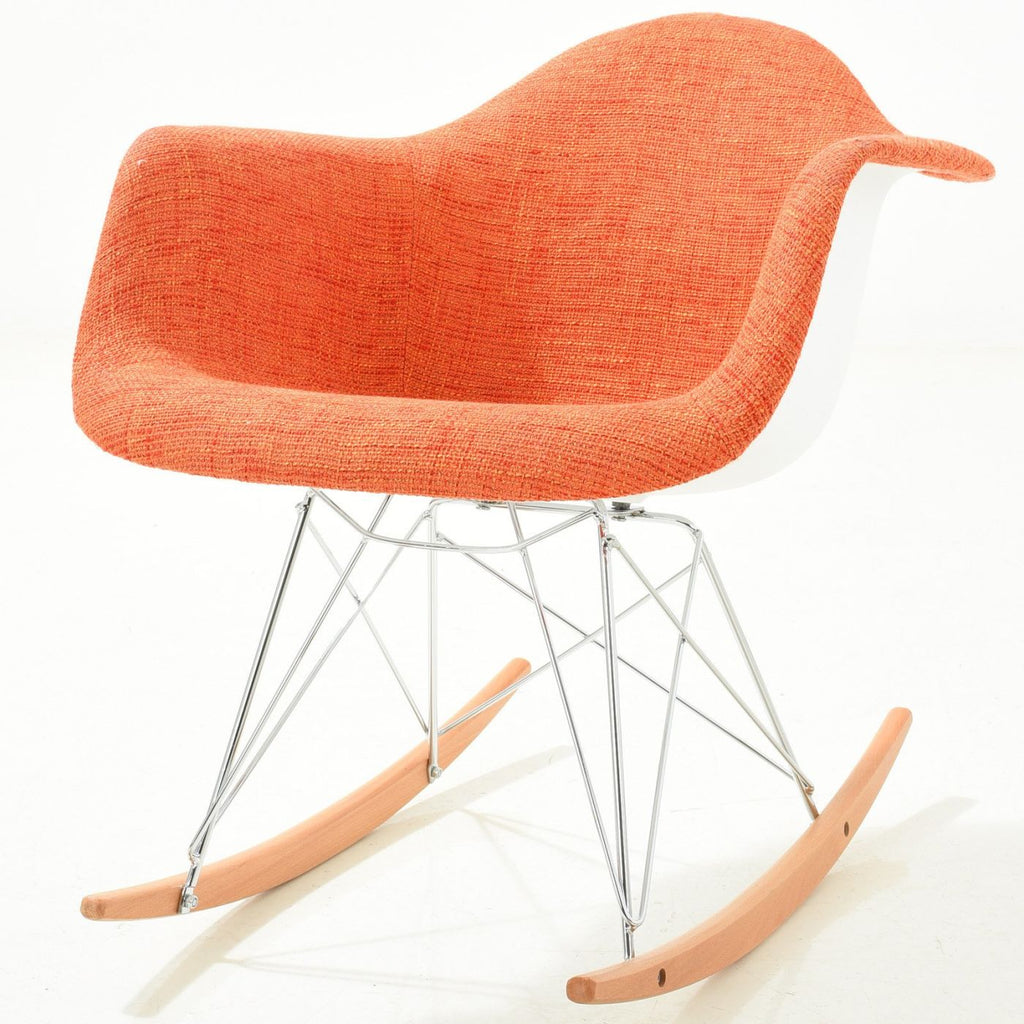 Padded Orange Rocker Rocking Chair