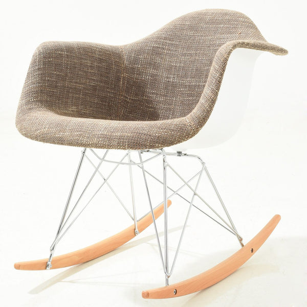 Padded Taupe Rocker Rocking Chair