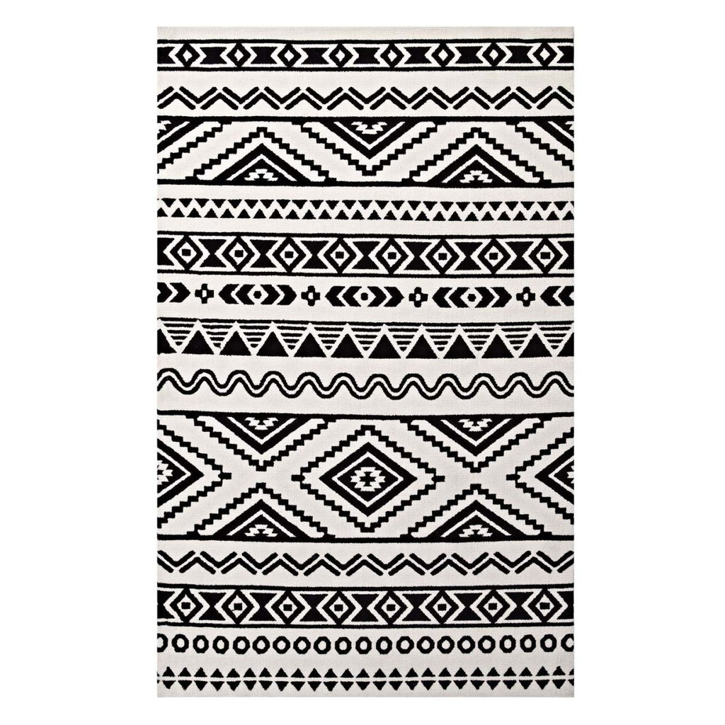 Haku Geometric Moroccan Tribal 5X8 Area Rug Black And White