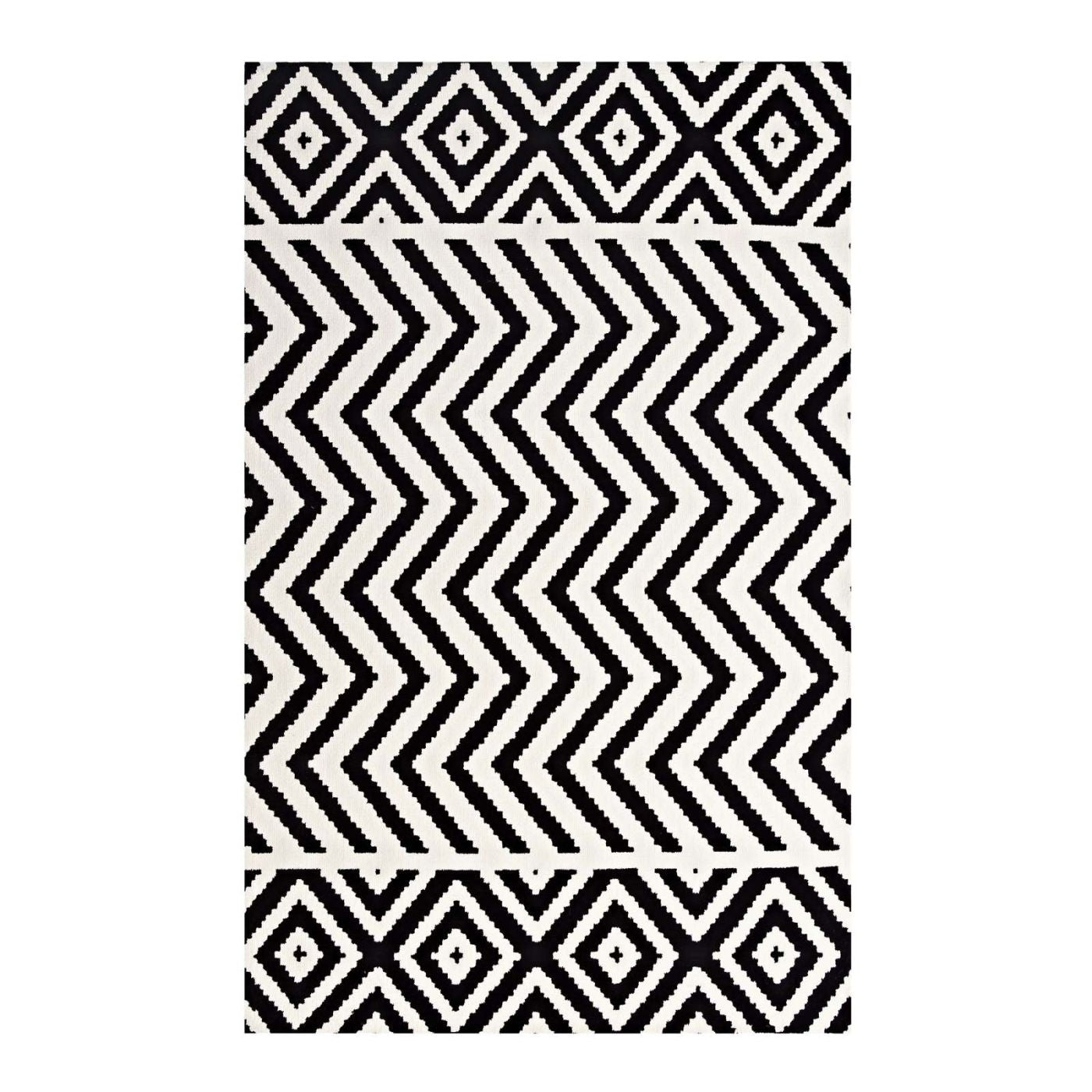 Black And White Geometric Rugs For Sale: Modway Rugs On Sale. R-1011A-58 Ailani Geometric Chevron