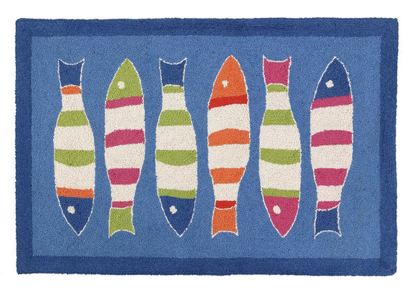 Picket Fish Blue Rug 27X40