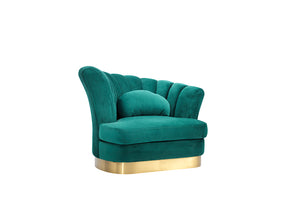 Vig Furniture VGZAS40-1-GRN Divani Casa Arvada Modern Green Velvet Lounge Chair