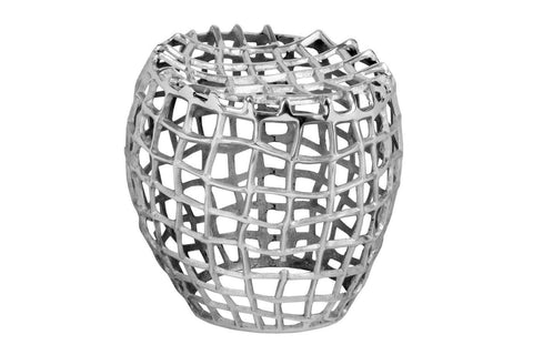 Birdcage Stool Silver Raw Textured Antique Nickel Plated Aluminum