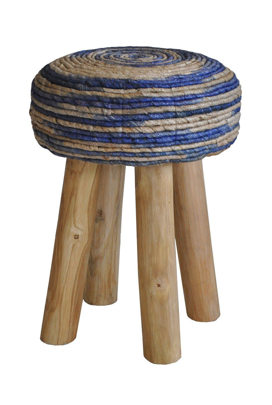 Moes Home Collection Bali Stool Round Blue Palm Leaf Solid Teak Wood ...