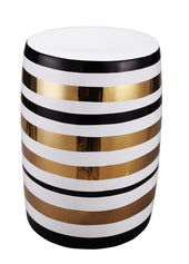 Pharoah Stool Stoneware White Black And Gold