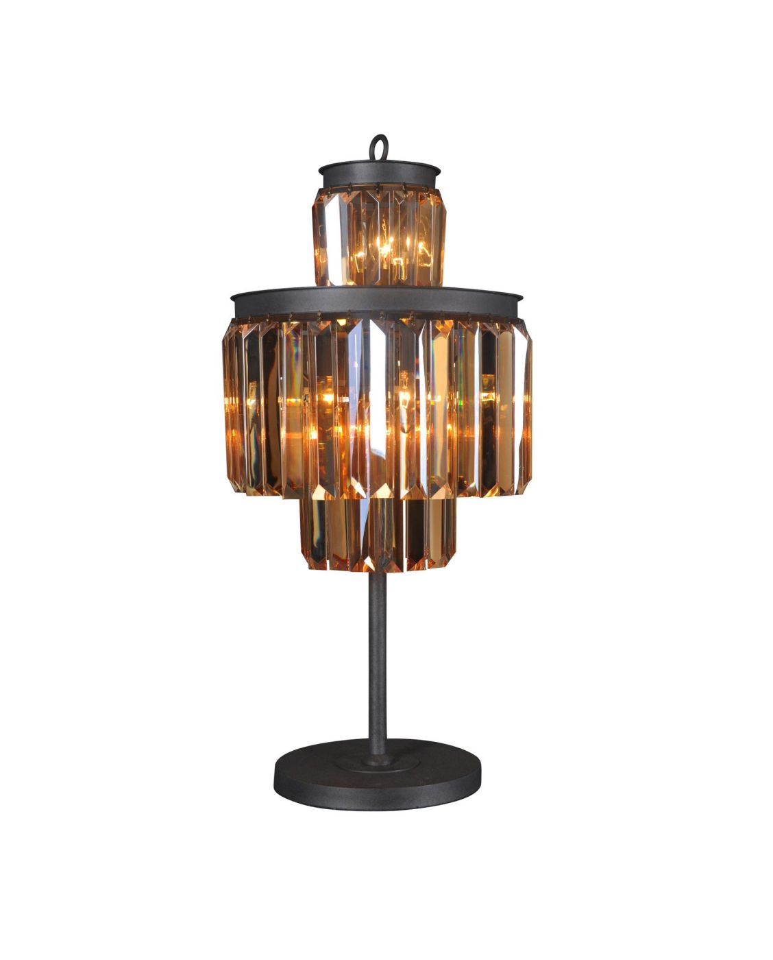 Isabel Table Lamp Iron Chinese Amber Crystal
