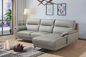 Divani Casa Fortson Modern Grey Eco Leather Sectional Sofa W/ Right Facing  Chaise